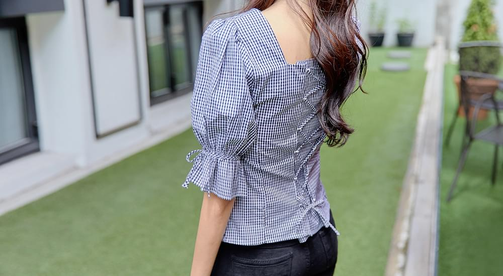 Eyelet puff ribbon blouse #44196