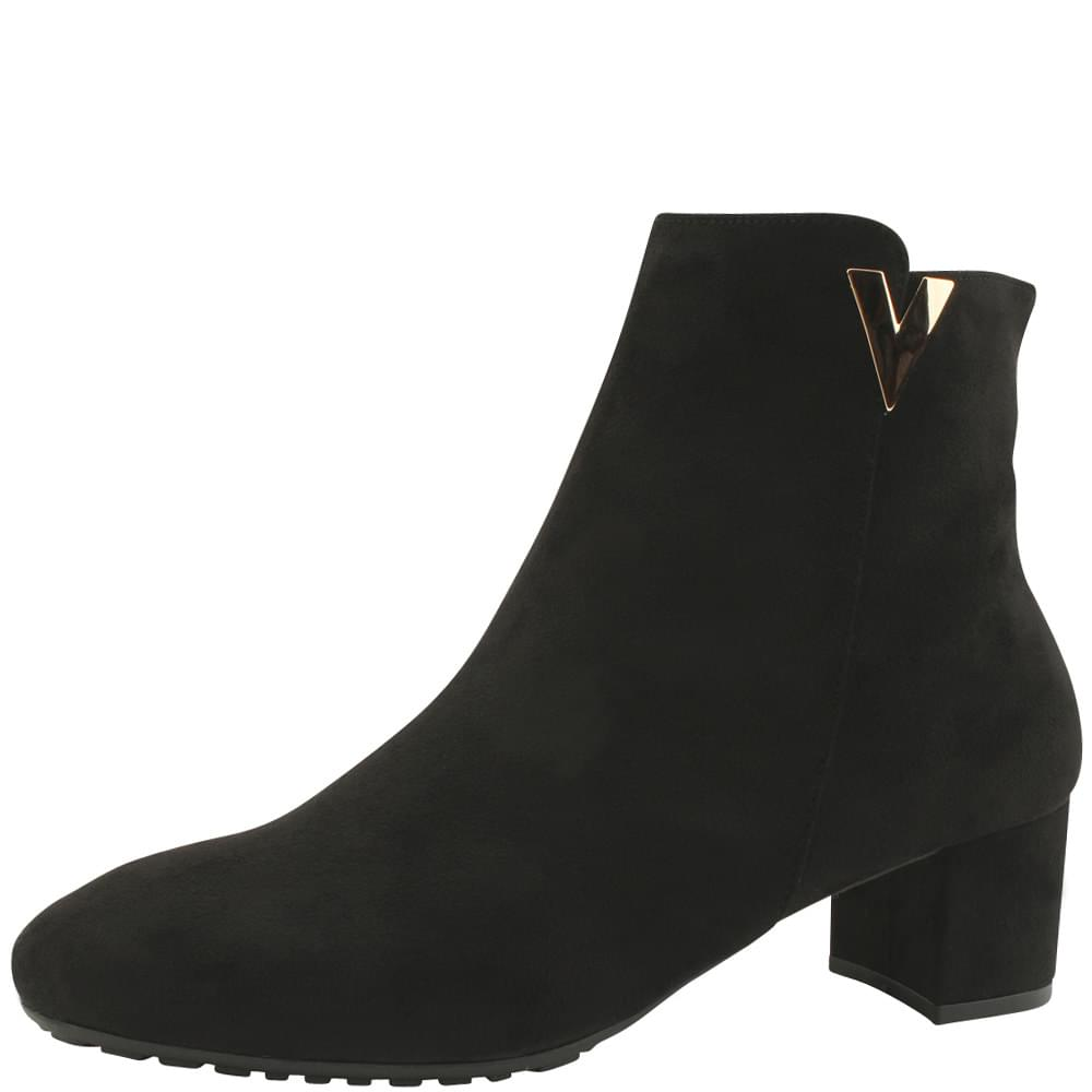 Fleece Nappy Middle Heel Ankle Boots Black