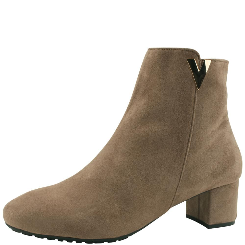 Fleece Nappy Middle Heel Ankle Boots Beige