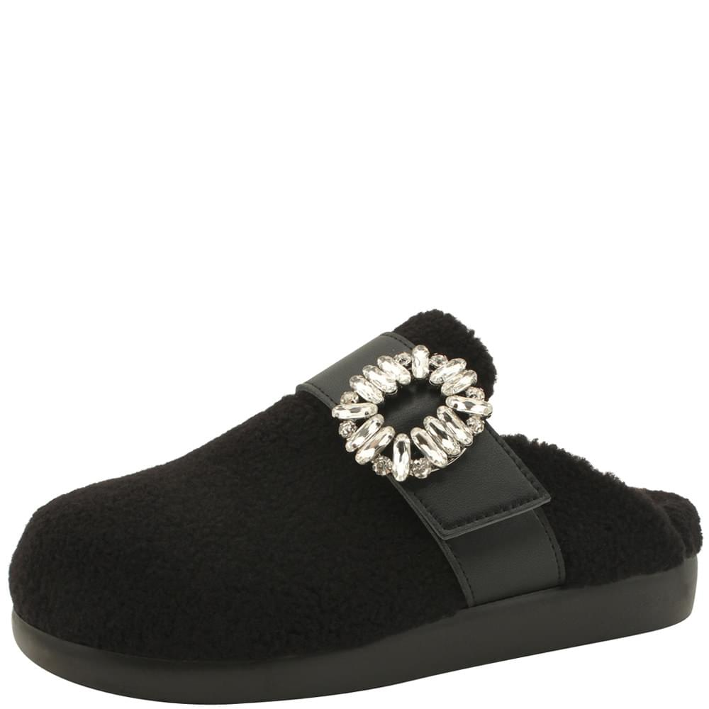 Fleece Crystal Cubic Mule Blower Black