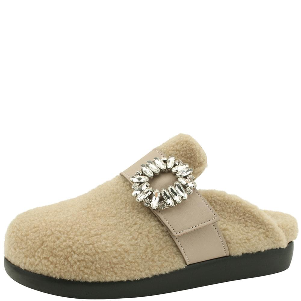 Fleece Crystal Cubic Mule Blower Beige