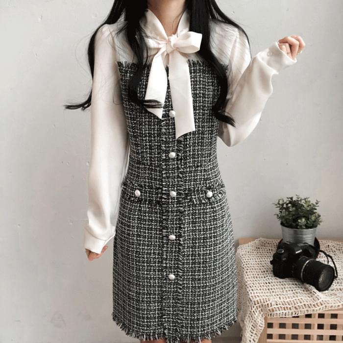 Allen neck ribbon tweed dress