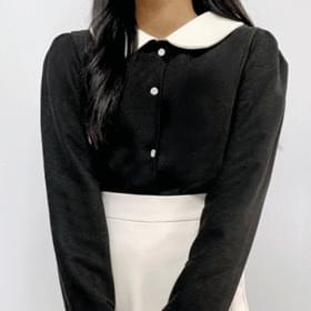 Round color collar blouse