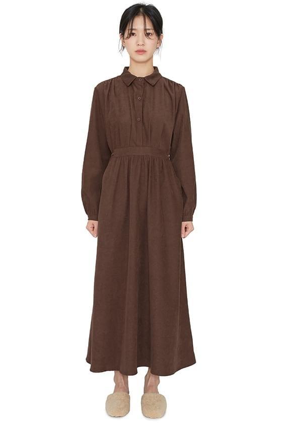 Pope ruched shirt maxi dress 洋裝