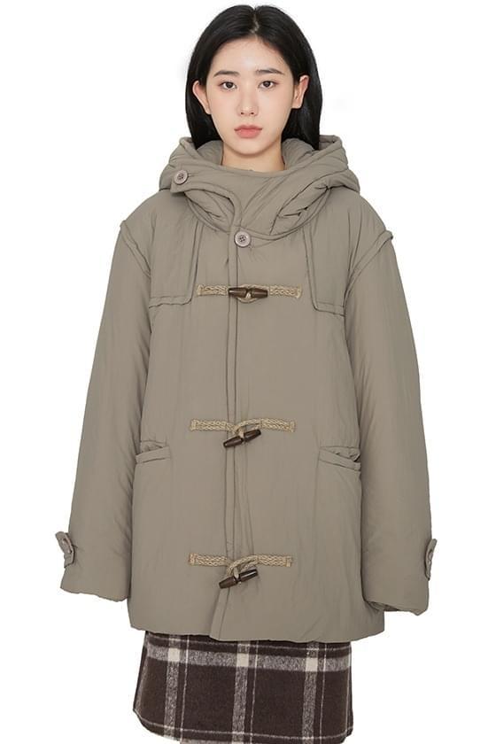 Slow hoodie toggle padded jacket zip-up