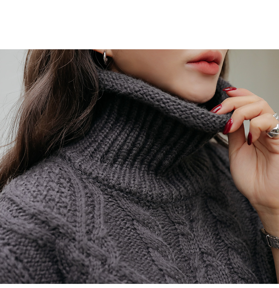 Turtleneck Cable Knit Vest