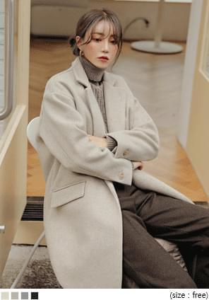 翻領單釦長版毛呢大衣