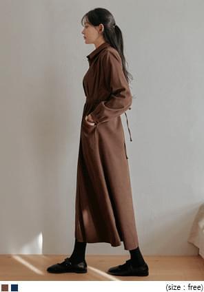 蜜桃絨腰綁帶翻領長洋裝