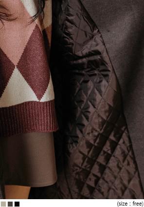 羊毛混紡雙釦長版大衣