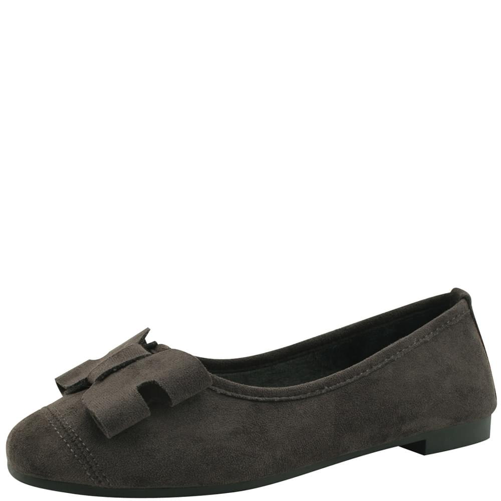 Suede Fur Ribbon Flat Shoes Gray