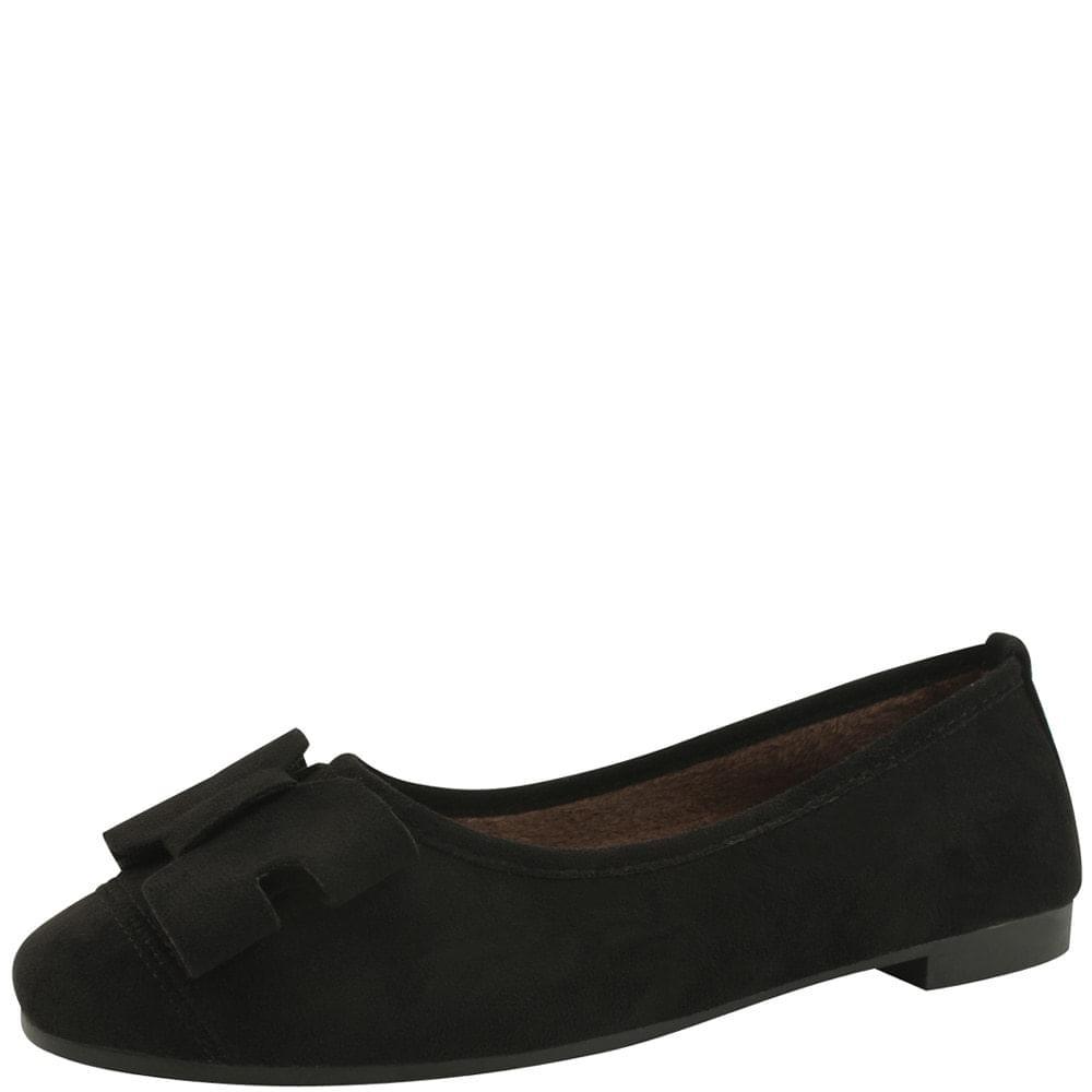 Suede Fur Ribbon Flat Shoes Black