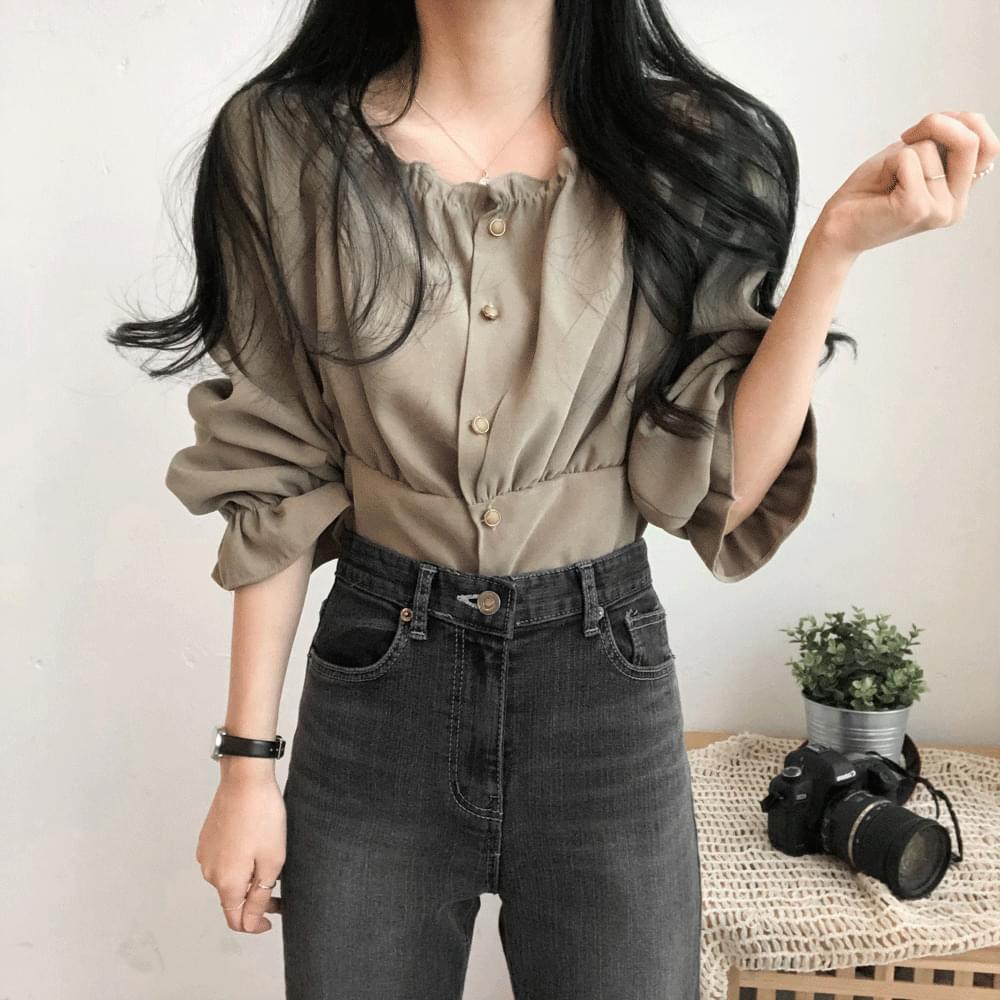 Sally shirring-neck blouse