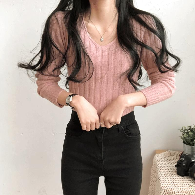 Melo V-neck slim ribbed knit