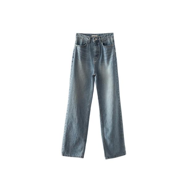 solid maxi denim pants