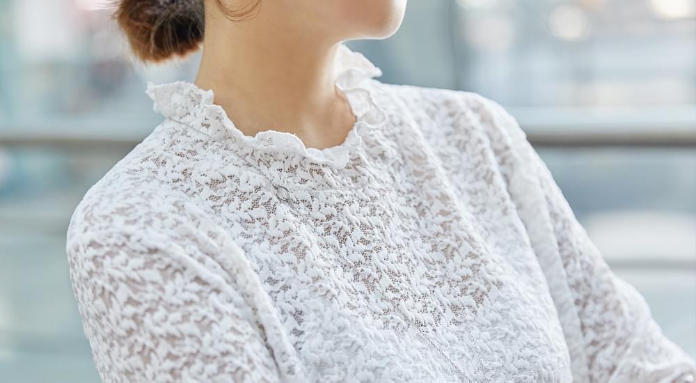 Lace layered blouse #44385