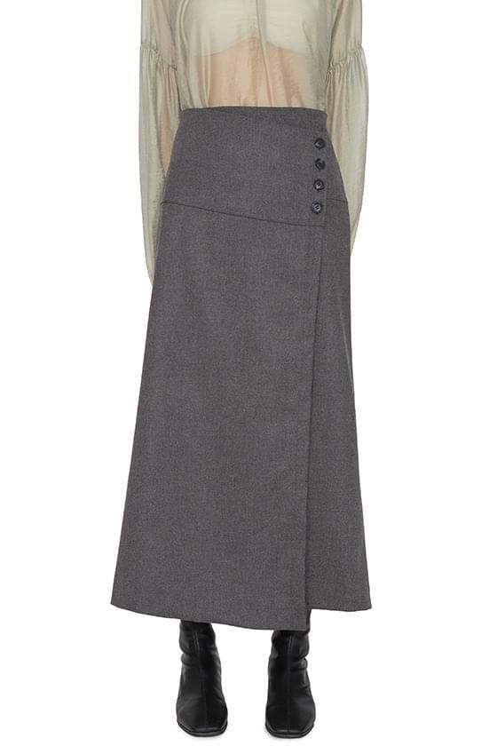 Airy diagonal button maxi skirt 裙子