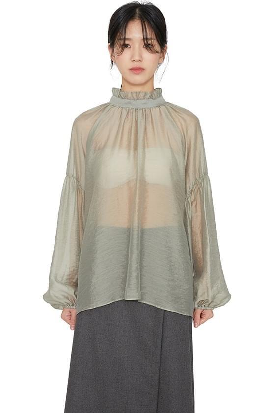 Eden shirred sheer blouse