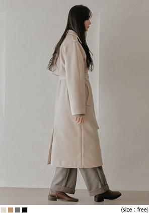 綁帶拉克蘭袖長版大衣