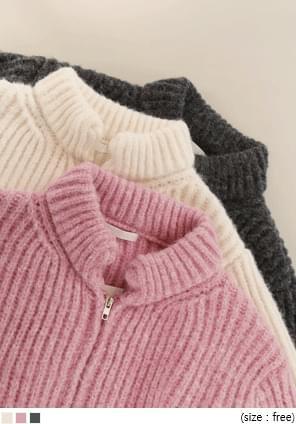 羊毛混紡拉鍊針織外套