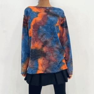 韓國空運 - Tie-dye boat neck loose knit 針織衫