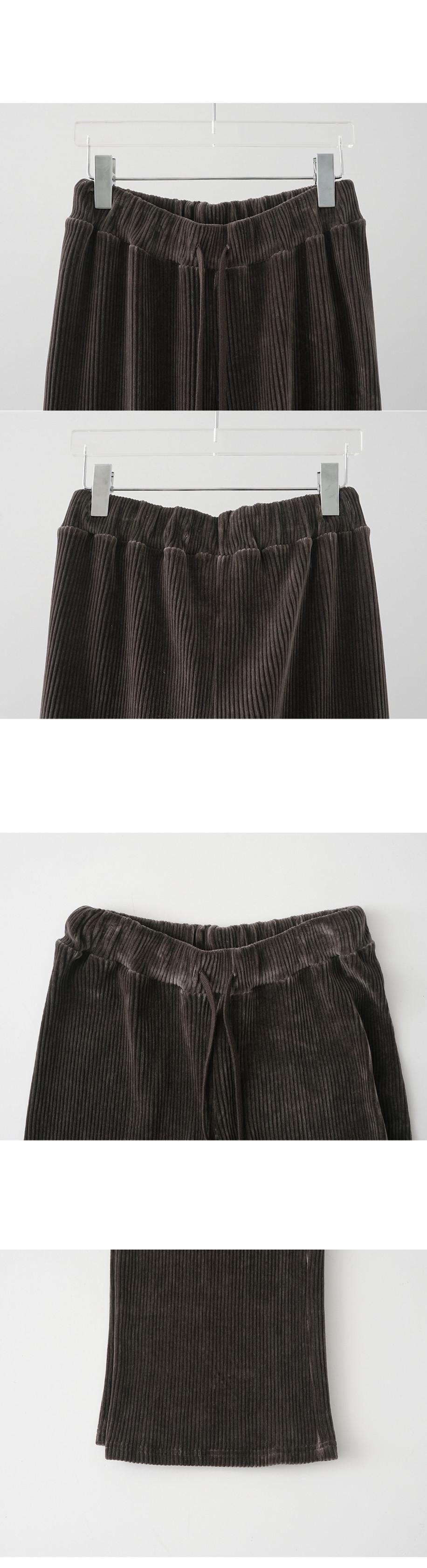 banding wide velvet pants