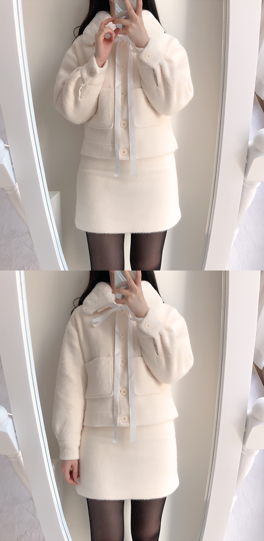 Melo fur jacket coat + knit skirt set 2color