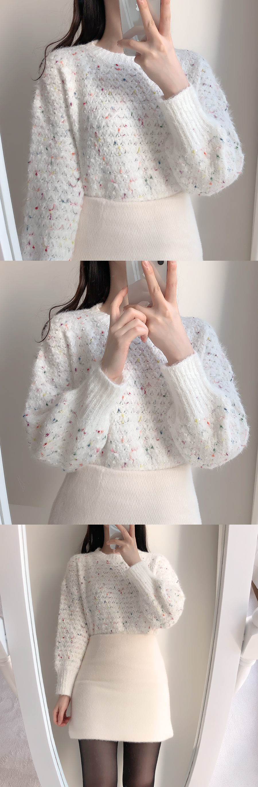 Melo fur jacket coat + knit skirt set 2color