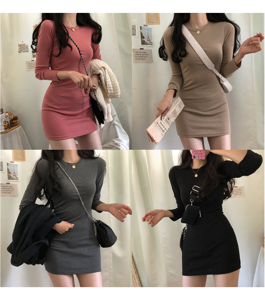Moodly~! Two length long-sleeved dress