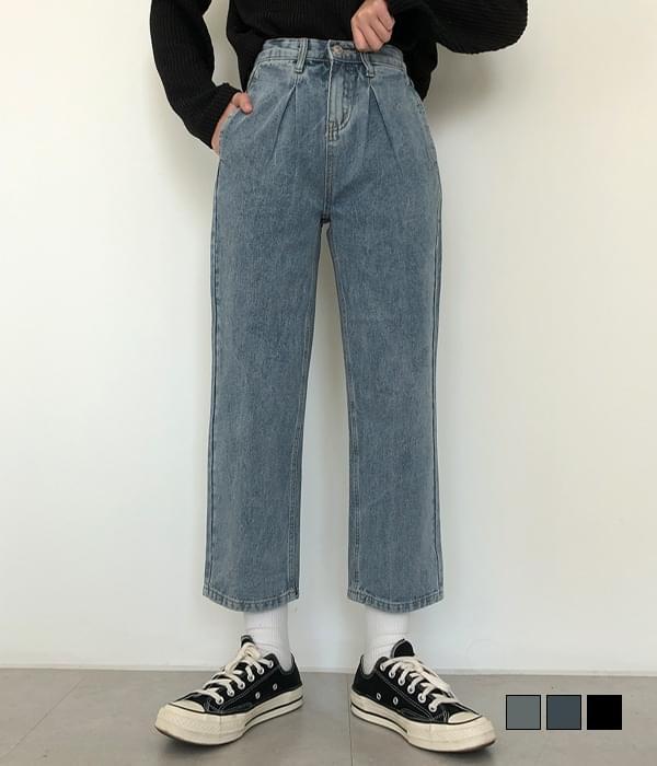 Detail Perfect Pintuck Baggy Thong Denim Pants