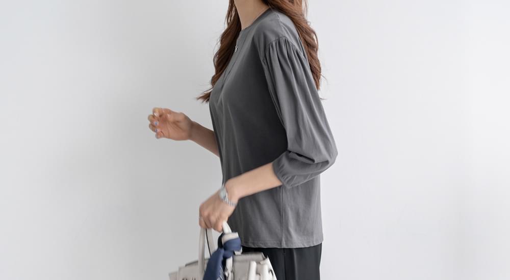 Puff Sleeve Round Neck T-Shirt #107341