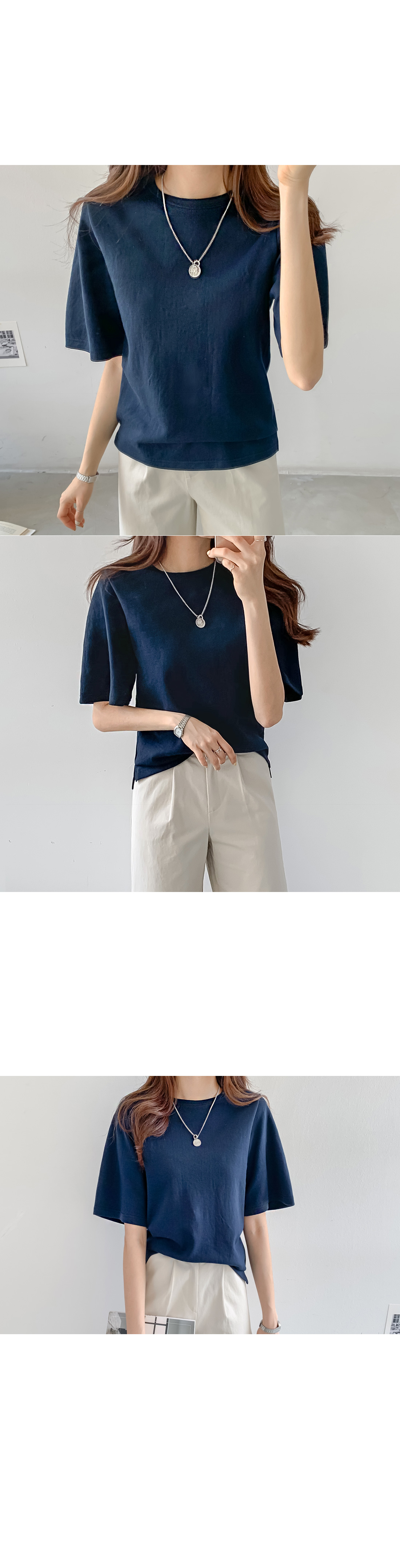 Tencel Round Short Sleeve Tee #106991