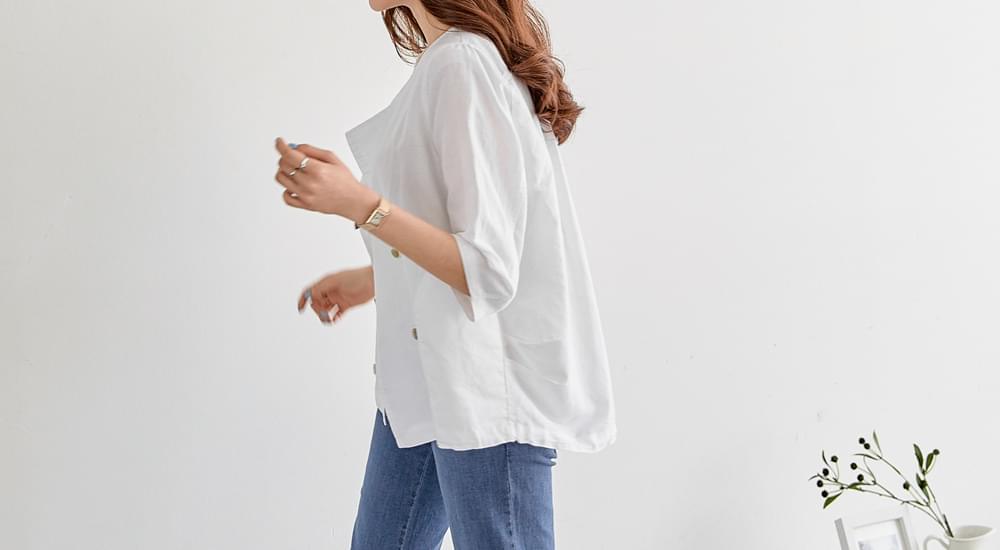 Double Button 7 Linen Jacket #65612