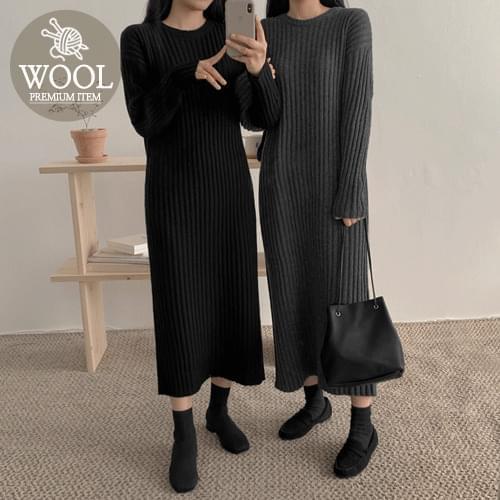 Lun Wool Knit Long One Piece