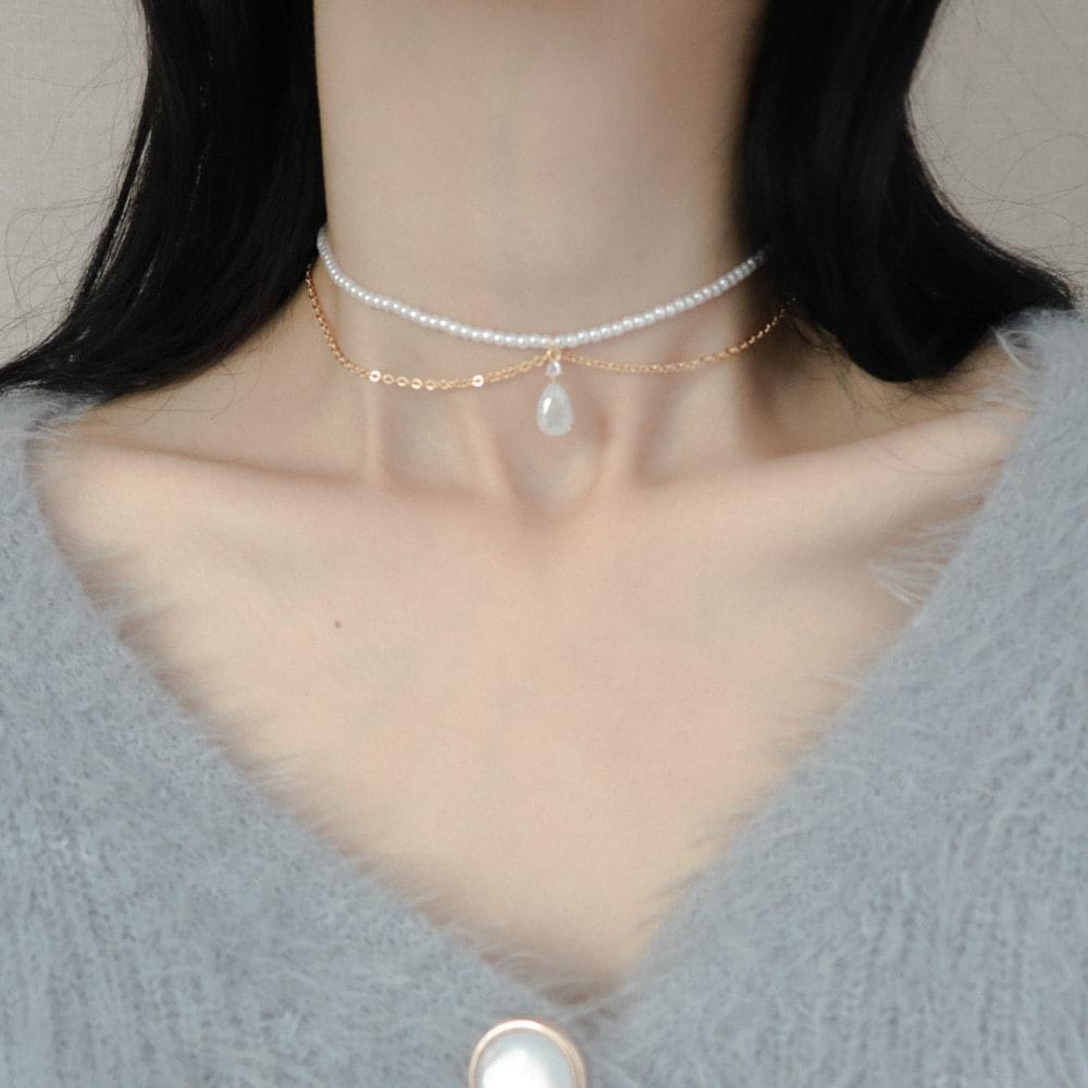 Pearl line diamond choker