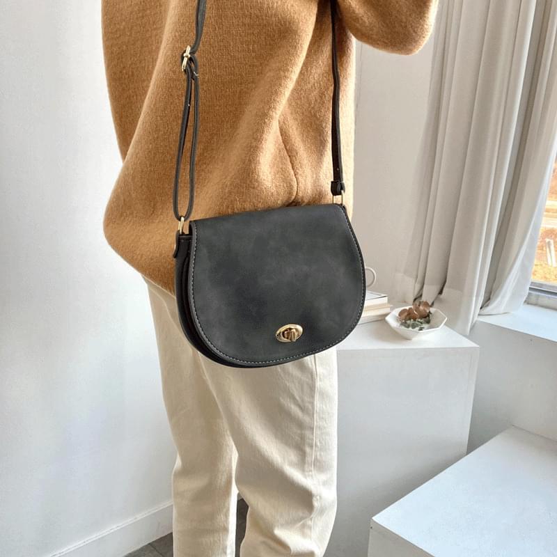 Suede half-moon shoulder bag