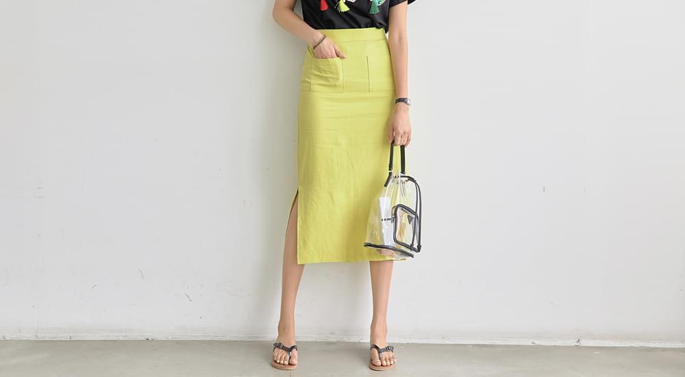 Side trim linen long skirt #5938
