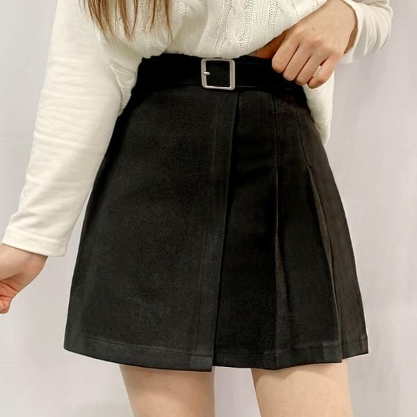 Half pleated wool skirt