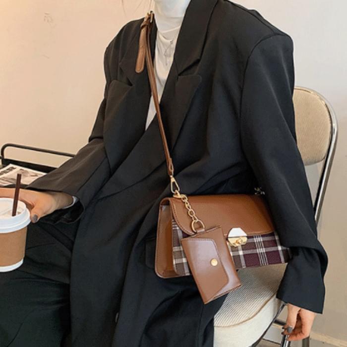 Grid Card Wallet SET Tote Shoulder Bag