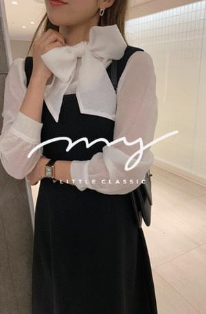 My-littleclassic/ scarf tie shimmer blouse