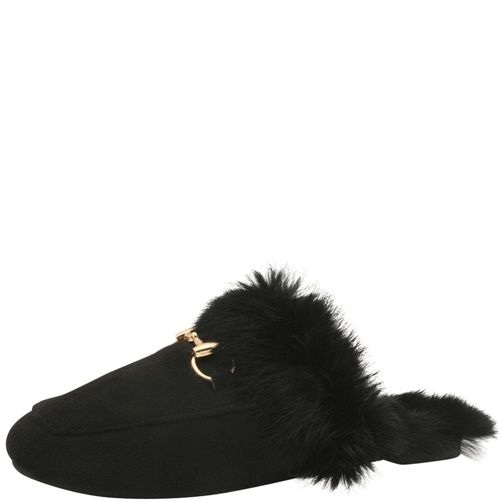 Rabbit Fur Horsebit Suede Blower Black
