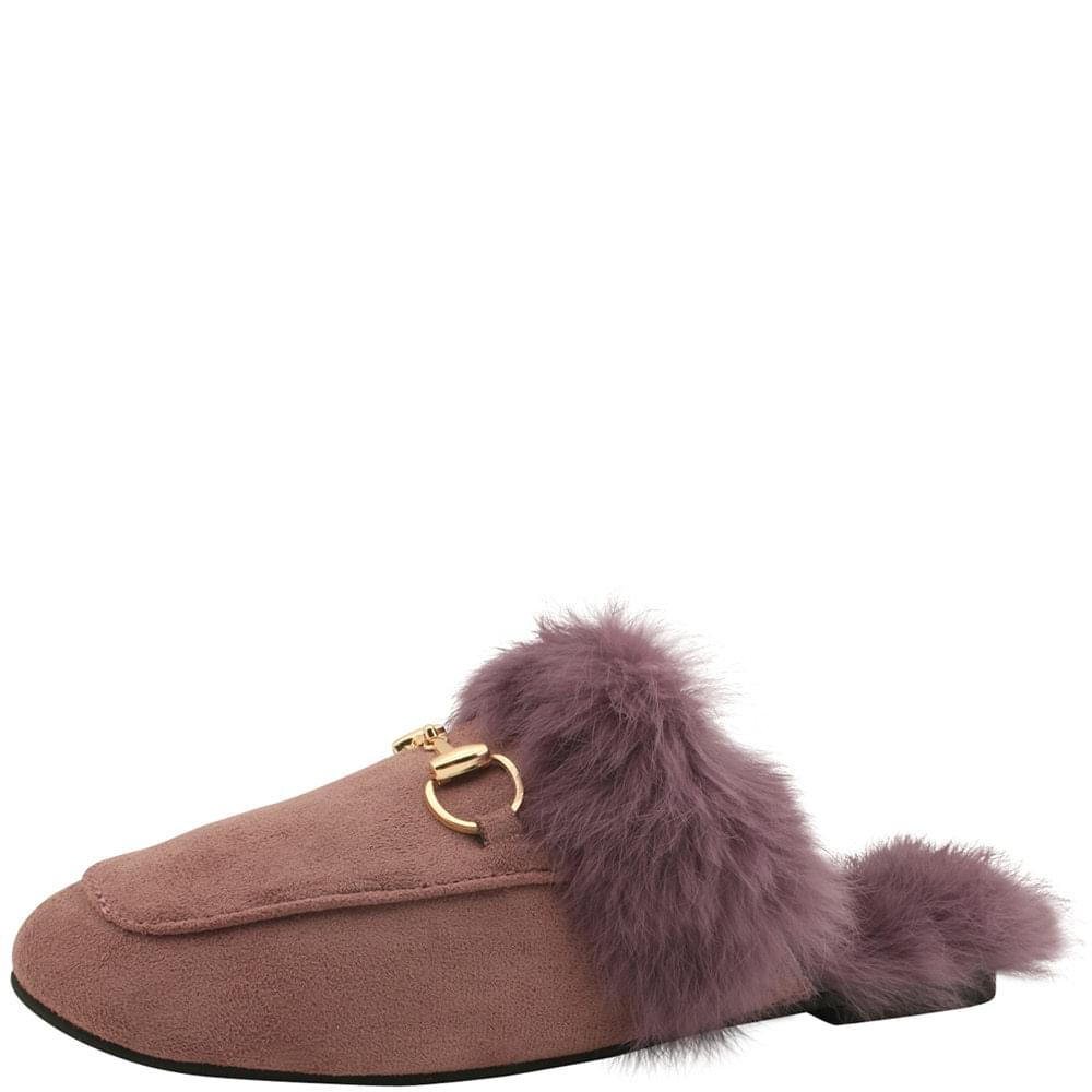 Rabbit Fur Horsebit Suede Blower Purple