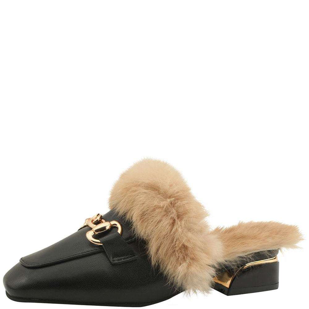 Rabbit Fur Low Heel Mule Blocker 3cm Black