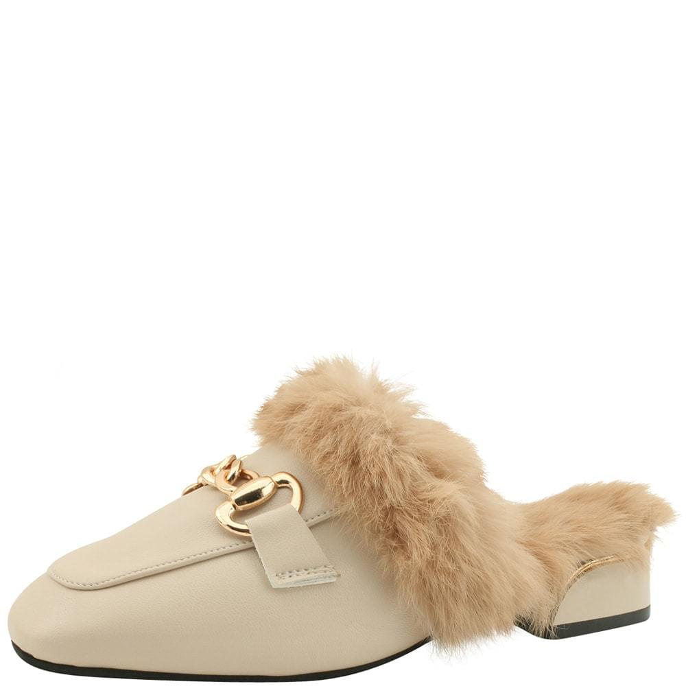 Rabbit Fur Low Heel Mule Blocker 3cm Beige