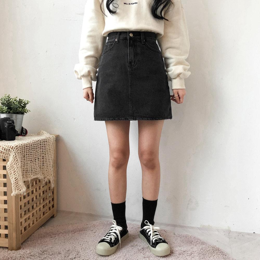 225 black blue mini denim skirt
