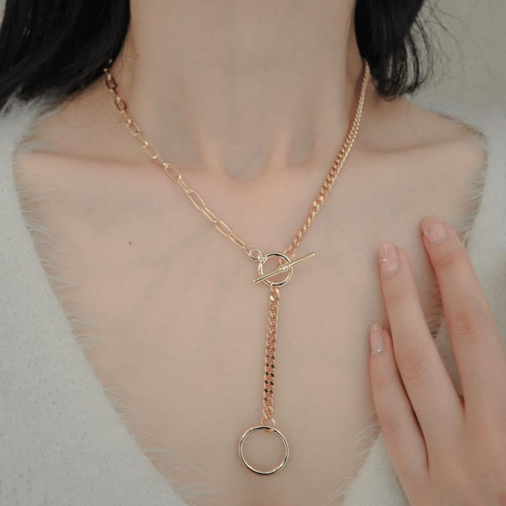Unbald Chain Half Ring Necklace