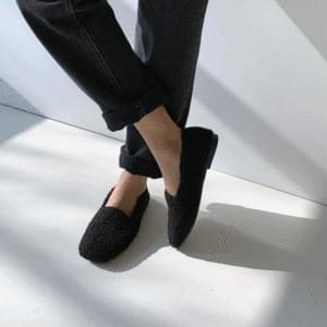 Fleece fur-lined flat shoes 1cm