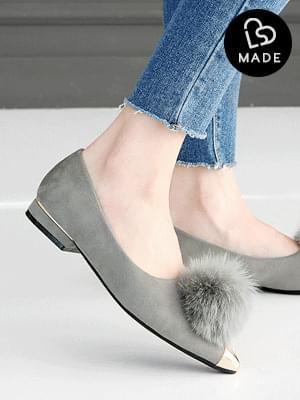 High-grade real fur tall flat shoes 3cm 平底鞋