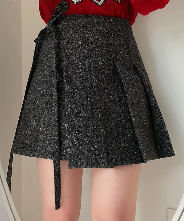 Shade pleated ribbon wrap skirt 2color