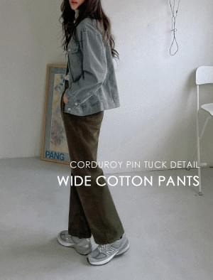 Laura pintuck wide corduroy pants