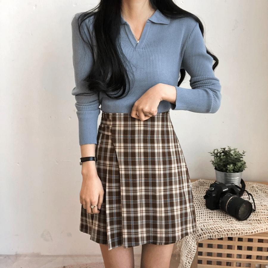 Blank check pleated wrap skirt